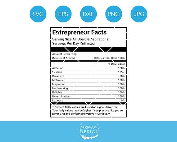 Entrepreneur Facts Svg Nutrition Guide Svg Boss Svg Etsy