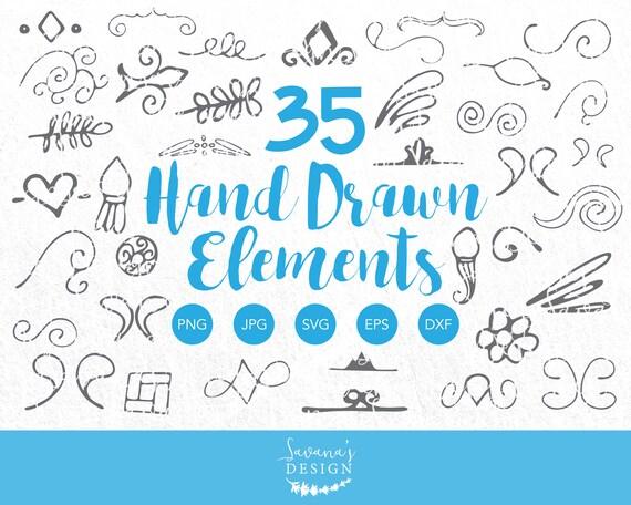 Hand Drawn Elements Doodle Element Element Svg Divider Svg Etsy
