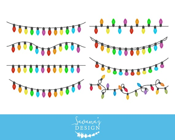 Christmas lights clipart Christmas lights clip art String of | Etsy