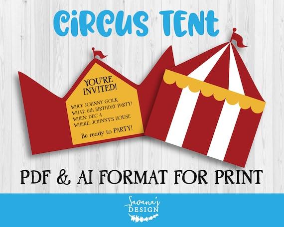 Circus Invitation Circus Birthday Card Template Printable