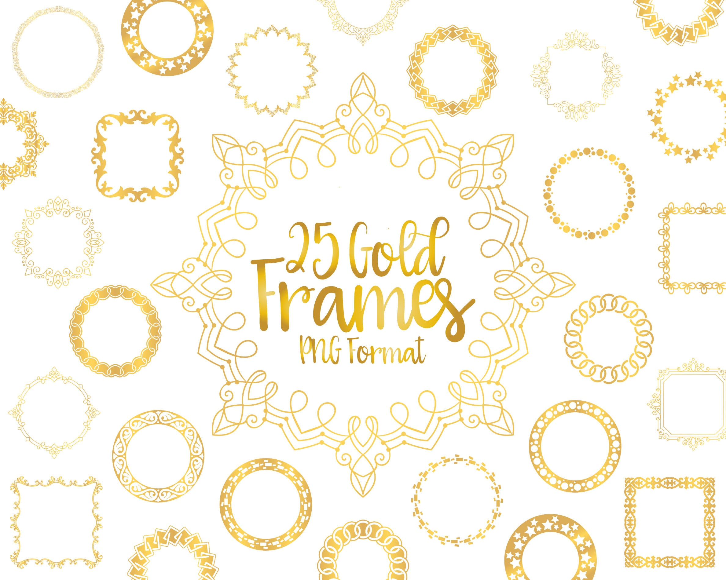 Gold Frame Clipart Frame PNG Gold Border Ornamental Design ...