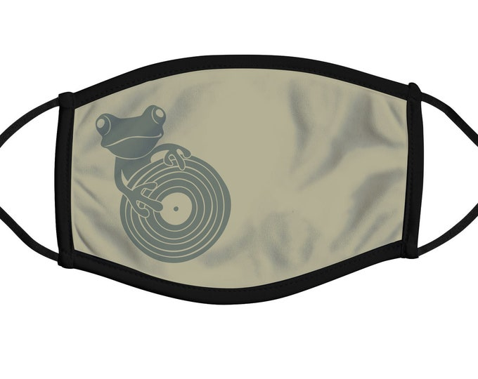 Frog DJ Face Mask, Reusable, Durable, Breathable, Washable, Cotton And Polyester, 4 layers, Comfortable fit