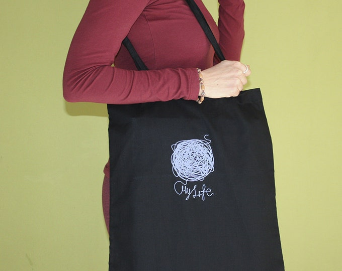 My Life Tote Bag, Long Handles