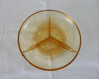 Glass serving dish, ochre yellow