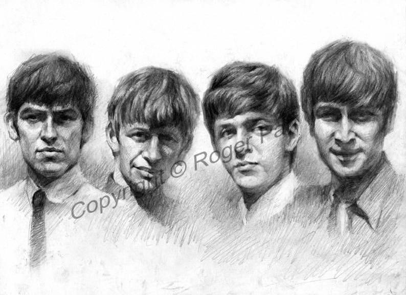 Digital Download, The Beatles,pencil sketch by Roger Pan