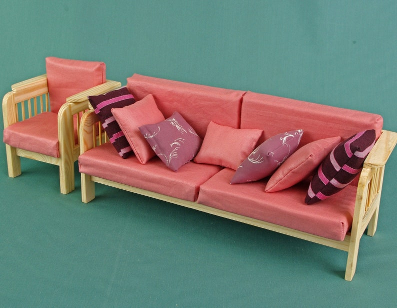 Sofa couch dolls house wooden Furniture 1:6 scale 12 inch dolls for Barbie Blythe living room Accessories Role-playing game collectible miniature