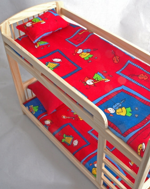 Furniture For Barbie Dolls Bunk Bed Wooden Dollhouse Miniature Self