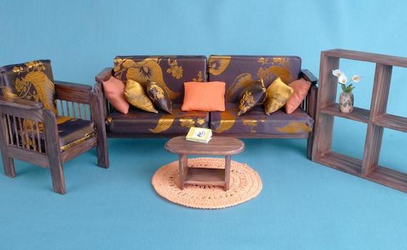 LIVING Room Set Dolls House Wooden Furniture Barbie Lounge | Etsy