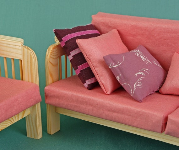 Superb Sofa Couch Armchairs Set Dolls House Wooden Furniture 1 6 Scale Barbie Blythe Dolls Living Room Accessories Roleplaying Game Miniature Bralicious Painted Fabric Chair Ideas Braliciousco