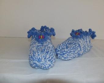 Blue Ruffled Slippers