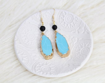 Turquoise Resin Essential Oil Diffuser Earrings - Lava Stone Jewelry - Gift for Her - Nickel Free Jewelry - Mothers Day - Aromatherpy
