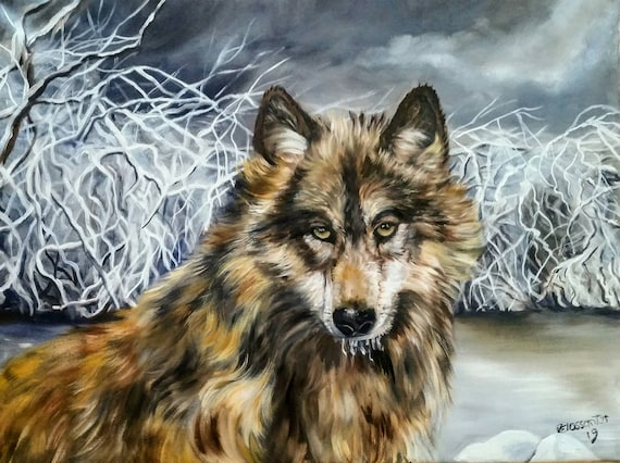 Wild Gaze oil on canvas 18x24.Beautiful wolf in a winter land setting.