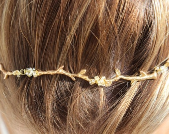 Gold Branch Hair Vine