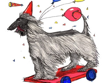 Afghan Hound Whimsical Print Party On Wheels