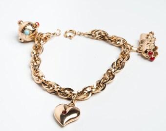 Vintage Bracelet ' 50 in ora 18 kt with pendants, vintage pendants