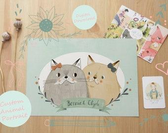 Custom Pet Animal Illustration Digital Download
