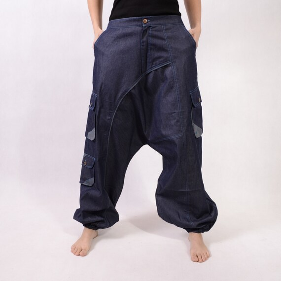 search for best aesthetic appearance quality products Men Blue Harem pants - Long Jeans Cotton - Baggy ethnic pants - Aladdin  pants - Afghani pants - Alibaba pants - Yoga pants - XXL