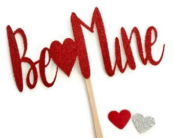 Valentine's Day cupcake toppers, Be Mine cupcake toppers , Valetines Day decor , Valentine's Day party , Be mine decor , Be mine cupcake