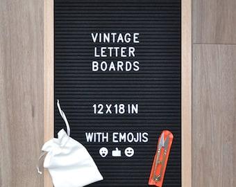 vintage changeable letter board 12 x 18 inches black felt wood oak frame