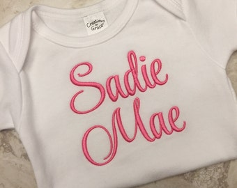 Custom baby name onesie, embroidered