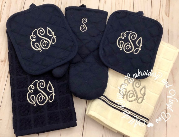 Monogrammed Kitchen towels, oven mitts and pot holder embroidered set