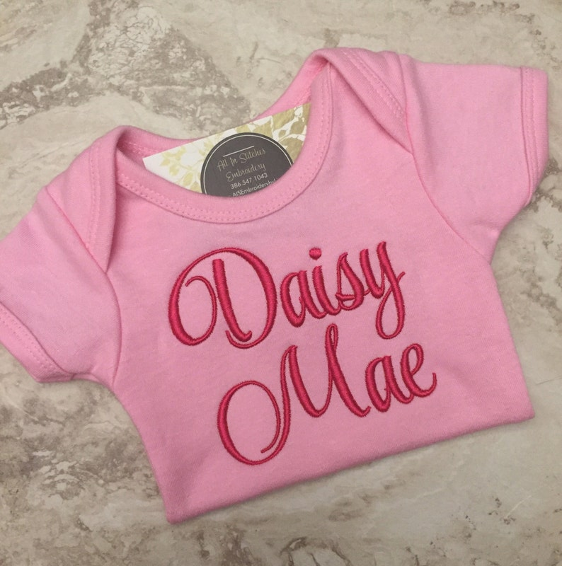 Custom baby name onesie embroidered