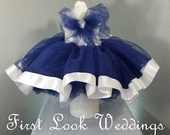 Flower Girl Tutu, Navy Tutu Skirt with White Ribbon Edge, Tutu, Wedding Tutus, Baby Tutu, Birthday, Cake Smash Skirt, Photo Shoot