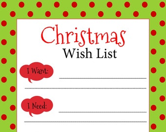 printable christmas wish list digital christmas wish list christmas list christmas list guide printable christmas list digital list