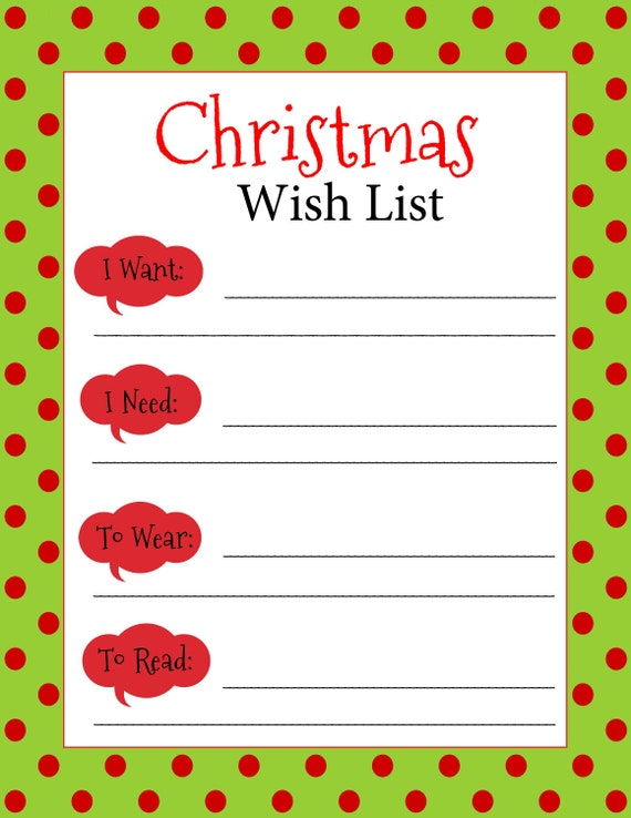 Gutsy image pertaining to printable christmas wish list