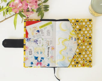 Padded MANGA BOOK COVER * Protective, adjustable & reusable book sleeve * Mustard Sushi * 2 sizes available * Otaku, anime, book lover gift