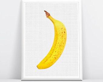 Banaan Print, banaan, Wallart, kunst voor kleuter, kunst aan de muur keuken, keuken Wallart, kunst voor keuken, Banana kunst, kunst van de keuken
