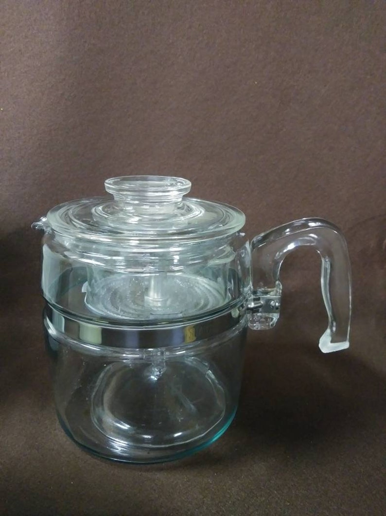 Vintage stove top pyrex percolater coffee maker 9 cup No top strainer