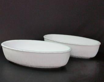 Vintage milk glass, oblong bowls, set of 2.  FTD