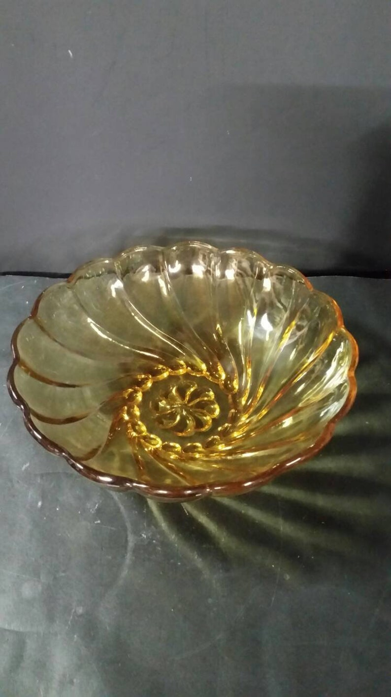 Hazel Atlas golden amber Capri Swirl Serving bowl.