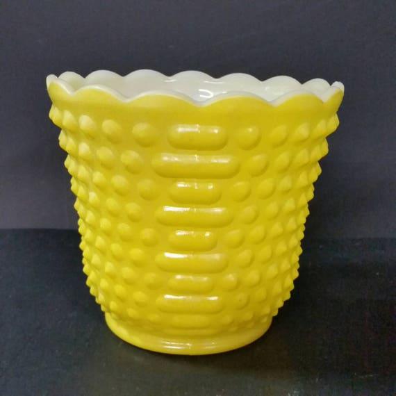 Vintage Fire King Yellow Vase Hobnail Dash Design Etsy