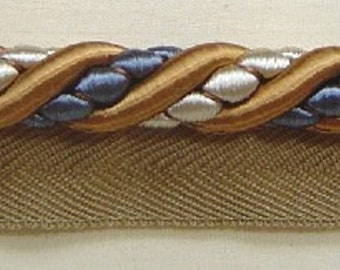 "1//2/"" Cording Trim Putty Copen Blue Cream match tassel Fringe Gimp BUF342-12695"