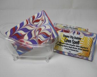 Love Spell Soap in a Clear Mini Bathtub Soap Dish