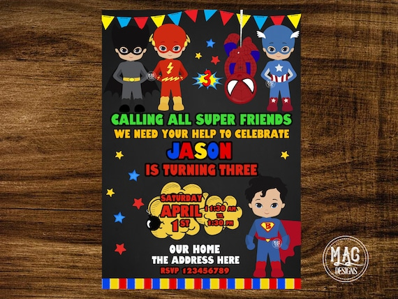 Superhero Birthday Invitation Boy