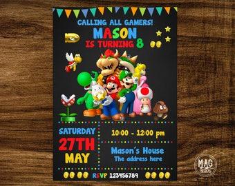 MARIO LUIGI INVITATION Super Mario Bros Invite Birthday