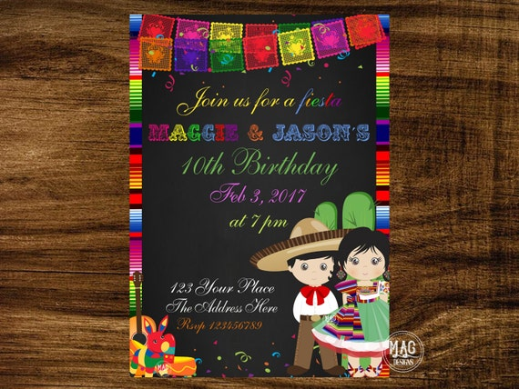 Mexican Party Invitation Fiesta Invitation Fiesta Birthday Invitation Double Birthday Invitation Brother Sister Party Digital File