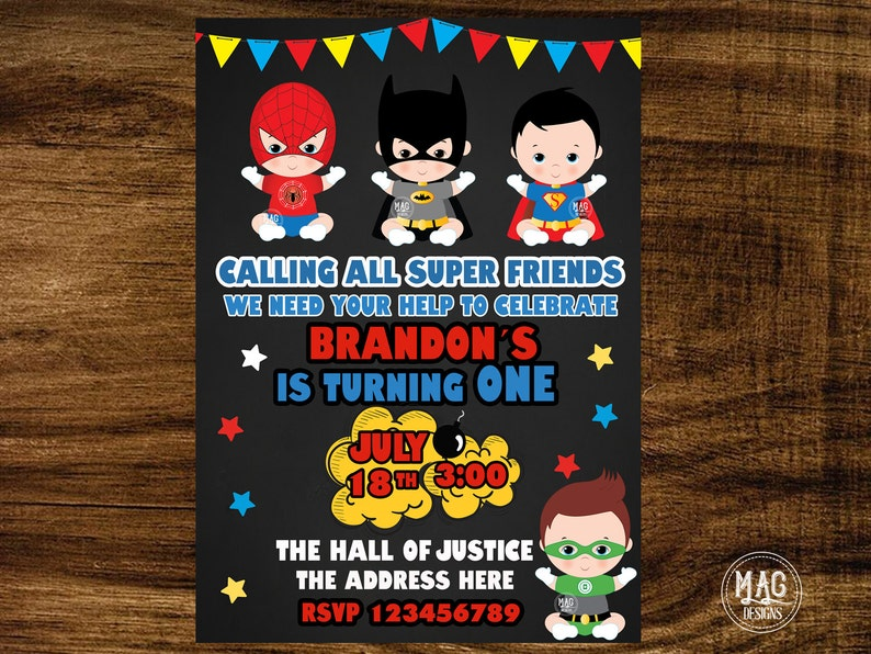 Tarjeta De Super Héroe 8 Shopkins Invitaciones