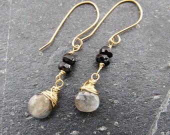 Black Tourmaline Earrings Labradorite earrings Gemstone Earrings October birthstone earrings  gift women gift for mom  Mother's Day gift