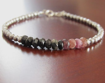 Black Tourmaline Bracelet Hematite bracelet October birthstone bracelet Gemstone Bracelet Silver Bracelet gift women Mother's Day gift