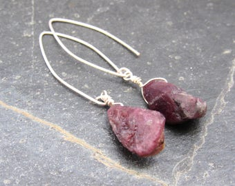 Raw Tourmaline Earrings pink tourmaline raw gemstone Raw Crystal Earrings Healing October Birthstone gift women mothers day gift for mom
