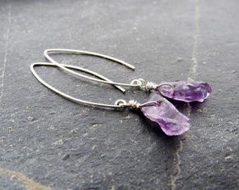 Raw Amethyst Earrings raw gemstone earrings Raw Crystal Earrings Rough stone Feburary Birthstone gift women gift gift for mom