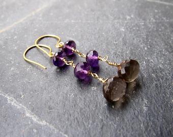 Smoky Quartz Amethyst Earrings Amethyst earrings Crystal Earrings Rough stone Feburary Birthstone gift women gift for her Mother's Day gift