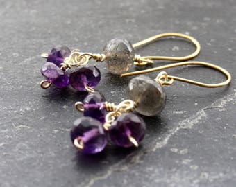 Amethyst earrings Labradorite Earrings Gemstone Earrings Purple Earrings gift women  Feburary Birthstone gift women Mother's Day gift