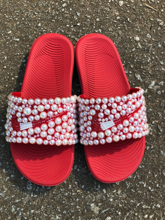 5436e003656 Red White Bedazzled Nike Slides