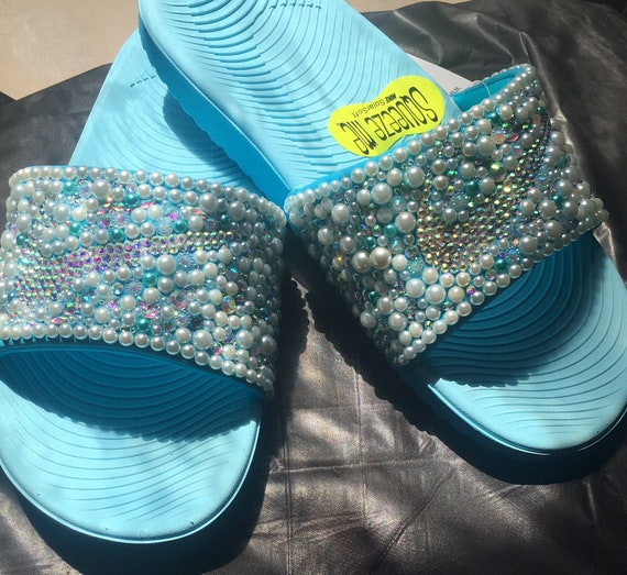 cd7106560f85 Baby Blue Bedazzled Nike Slides