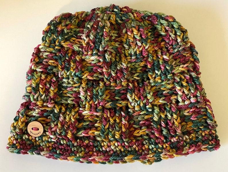 Crochet \u201cWinter Fruit\u201d Basketweave Hat